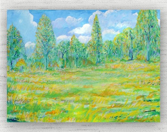 Landscape Painting Print Canvas Art from Tree Fine Art Canvas Painting - Green Art Print