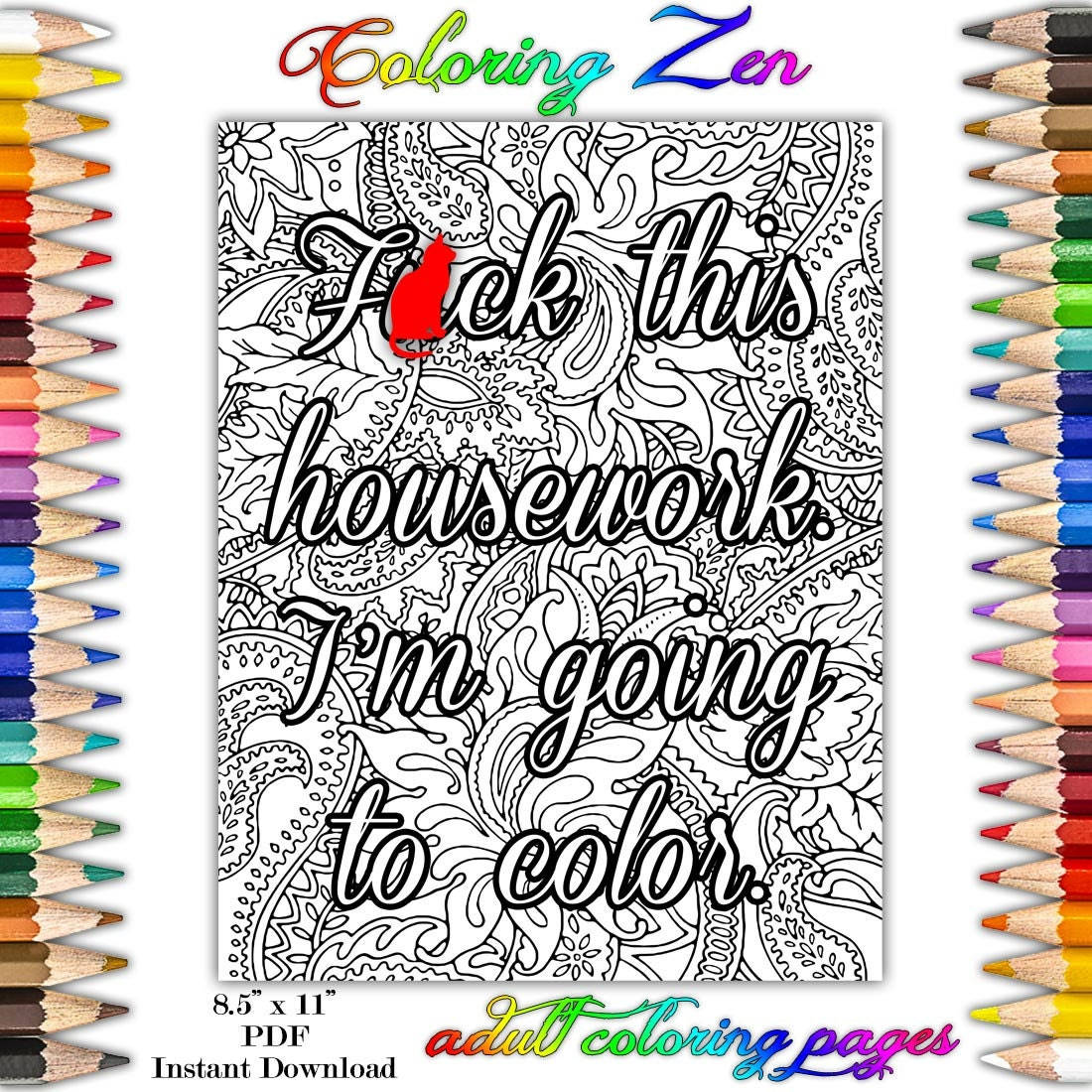 Sweary Coloring Book Download : Fck this Housework I m Going to Color Sweary Adult