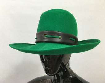 Connor Green Wool Felt Vintage 1970s Hat Black Trim Wide Brim Mod