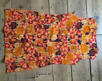 Vintage 1960s 100% Cotton Mini Summer Floral Mod Dress 12 Psychedelic Orange