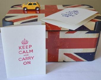 Greeting Card // Keep Calm and Carry On Card // Keep Calm Card