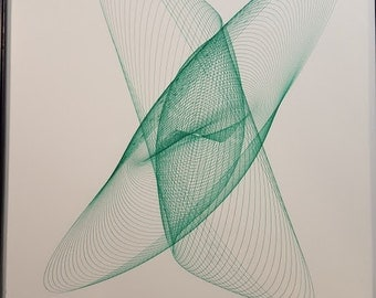 """Harmonograph Drawing .3mm Gel Ink Original Signed Dated6""""x8"""""""