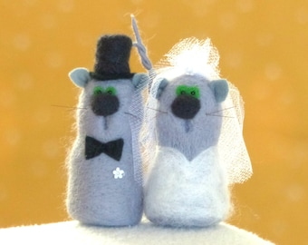 Cat wedding etsy bride and groom cat couple ornament mini wool sculpture needle felted cat pair junglespirit Choice Image