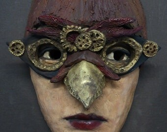 Original ceramic mask - owl punk - inspired by the steampunk style and created by portrait artist Anita Dewitt