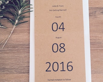Wedding Save The Date cards Invitations & envelope