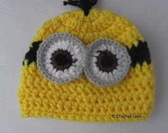 minion beanie hat, baby beanie, childrens beanie, childrens/baby winter hat, baby hat, childrens hat, baby boutique, childrens boutique