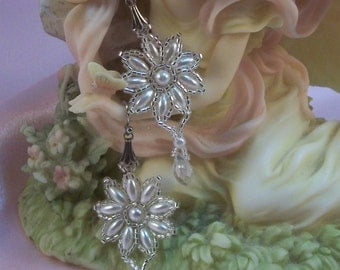 Elegant Flower Shaped White Pearl and Seed Bead Earrings with Crystal Drops