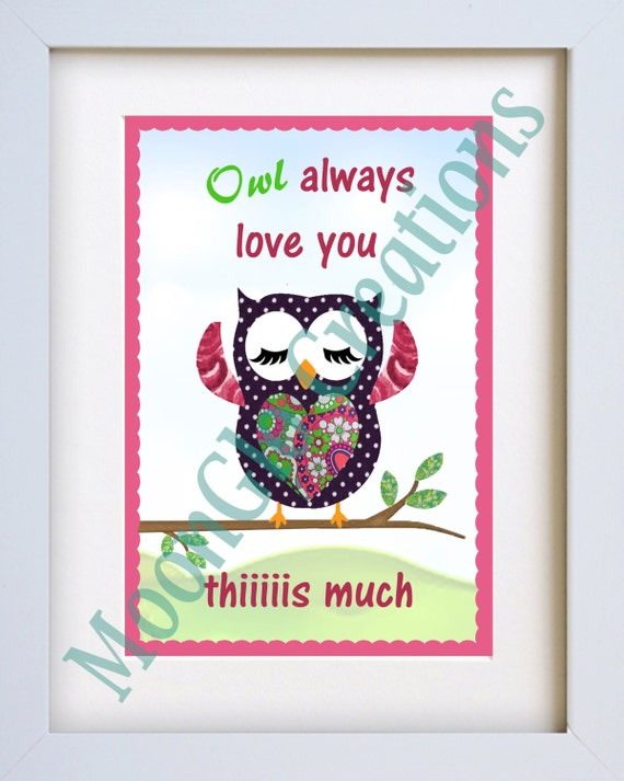 Owl wall art 'Owl always love you this much' 8