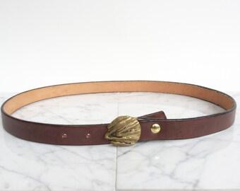 Vintage Artisan Belt // cast metal belt buckle and leather belt / modern solid bronze and brown leather belt / classic vintage fashion