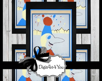 Greeting Card/Cards/Kid's Art/Children's Art/Clown/Retro/DIY Printable Card/Vintage Collage/Unusual/Collage/Blank Cards/8x10/5x7/3.5x7