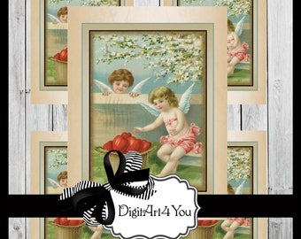 Greeting Card/Cards/Cupid/Angels/Valentine/Valentine's Card/Valentine's Day/Flowers/ Antique/Retro/Card/Vintage Collage/Collage/Blank Cards