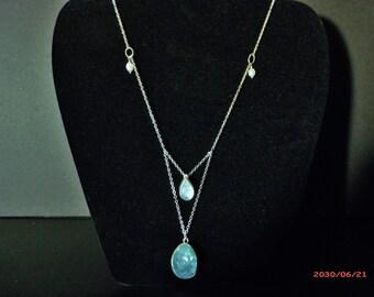 Aquamarine and Aqua Aura Quartz Necklace