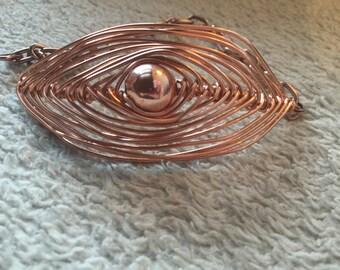 CLEARANCE - Copper herringbone wire wrapped bracelet
