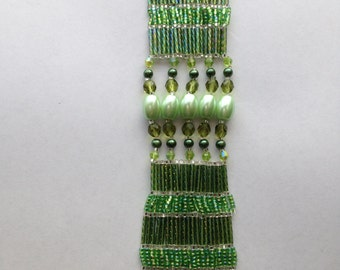 Cuff Style Bracelet in Pale Green pearls  and crystals