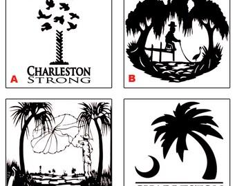Charleston South Carolina Vinyl Decal - Glitter Available