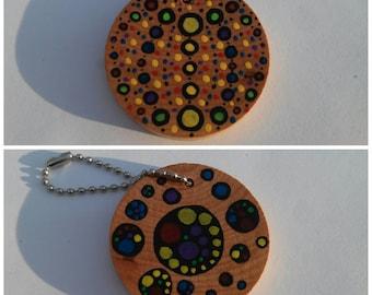 "Circles Hand Painted 2"" Wood Keychain Mandala"