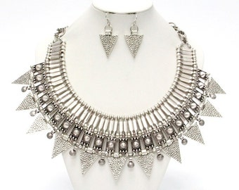 Silver Tirbal Triangle Necklace Set