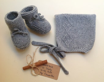 100% cashmere Baby  Pixie Bonnet hat  and booties set  0 - 3 months handknit to order