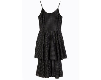 Vintage 80s dress - Size S dress - Vintage polka dot dress - Black dress - Spanish dress - Womens vintage - 80s dress - Polka dot dress