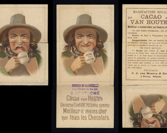 Original Vintage TRADING CARD Van Houten cocoa drink Advert - Authentic Chromolithograph ca. 1900