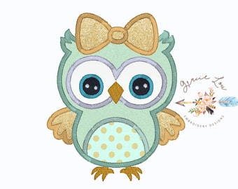 "Owl embroidery design, owl appliqué design, girly owl embroidery design, cute owl embroidery design, owl appliqué, owl 4""x4"", 5""x7"", 6x10"