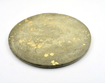 Gold splatter concrete cement cheeseboard platter prop
