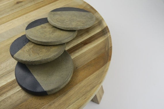 Charcoal concrete cement coasters by otisindigo on etsy for How to make concrete coasters