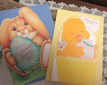 Vintage  Easter Cards  / Unused /  Easter Bunny  /    Cards  For  Kids  /   Stationary  - set of 2.