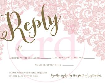 Wedding Invitation - RSVP - Lace Detail