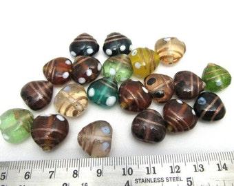 10 Handmade Gold Sand Lampwork Glass Heart Beads Assorted Random Colors (B9d/213b)