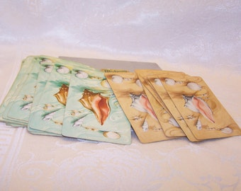 Vintage Playing Cards  Midway Plastic Coated Double Deck ARRCO Sea Shell Design