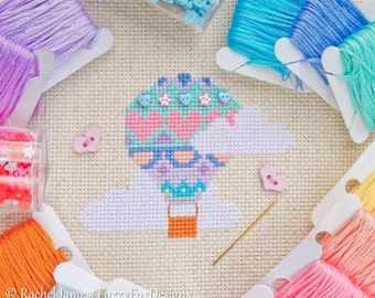 Pretty Pastels Hot Air Balloon Cross Stitch Pattern PDF | Easy | Modern | Beginners Counted Cross Stitch | Instant Download