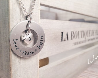Teacher Personalized Necklace Teach Love Inspire Hand Stamped with Apple Charm - Teacher Appreciation Gift - End of year gifts for teacher