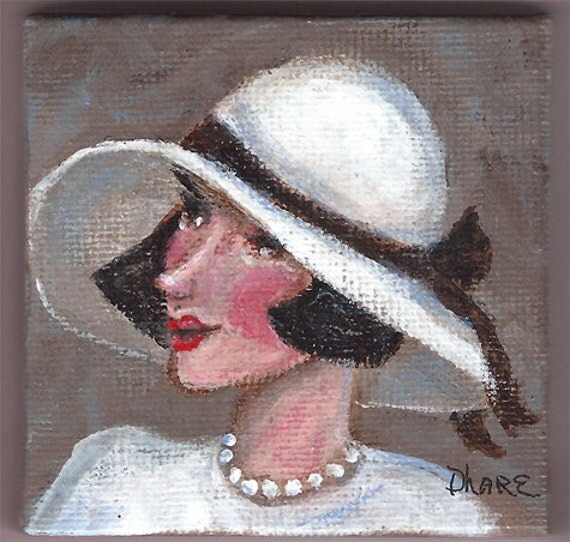Miss Dashwood - Ladies with Hats Series #025 with display easel an original by Dianne Masters Hare
