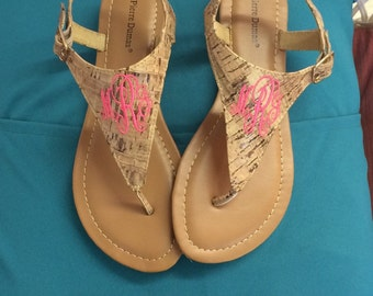 Monogrammed Flat Sandals