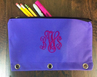 Back To School Monogram Pencil Cases, 3 Ring Binder Pencil Pouch, Personalized Zipper Pouch, School Supplies, Small Bag, Organizer