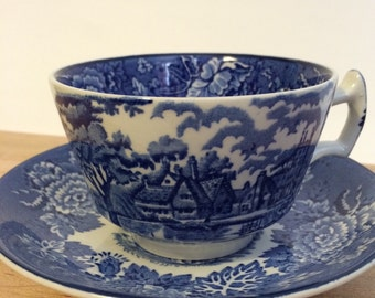 English Scenery Blue and White Teacup and Saucer Made in England Enoch Woods