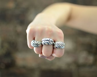 """Unisex Oxidized Sterling Silver Wide Band """"Monstera"""" Ring"""