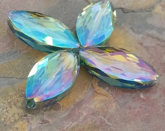 4 Large Oblong Glass Crystal Beads, Blue Green, AB Finish, 25x12x8mm