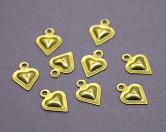 100 Raw Brass Heart Charms 11x8 mm | Gold Heart Charms, Gold Heart Pendant, Small Heart Charms, Tiny Heart Charms,Brass Heart Pendant