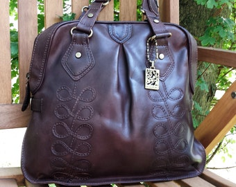 Vintage Xude London Leather Tote Bag / Purse - Vintage brown leather Hobo Tote Satchel Shoulder Bag