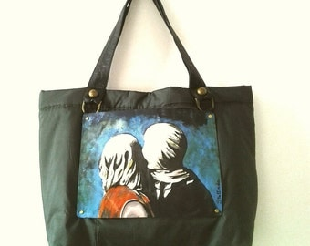 The lovers (Magritte) hand painted bag
