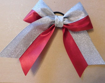 "Maroon satin ribbon with silver glitter ribbon - 3"" wide ribbon"