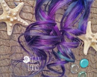 Hair Extensions Clip In, Pastel Hair Extensions, Ombre hair extension, Festival Hair, Purple Hair, Green Hair, Teal Hair, Mermaid Hair