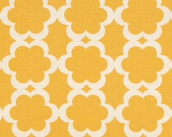 Dena Designs Taza Tarika in Yellow Fabric - Fall Fabric by the Yard - Mustard Yellow - Classic Preppy Quatrefoil - Yellow and White - Gold