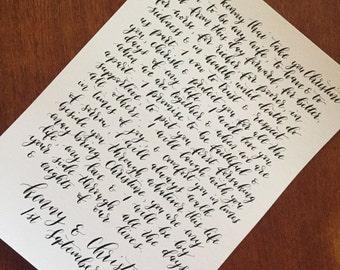 Handwritten calligraphy wedding vows