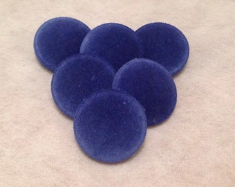 Blue Buttons, Velvet Buttons, Fabric Covered Buttons, Shank Buttons, 31mm, Large Buttons, Coat Buttons, Sewing Supplies, Upholstery