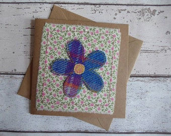 Handmade greetings card-Flower- Birthday -Thank you-Get well -Mother's Day-Tweed