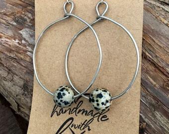 Dalmatian turquoise hoop earrings