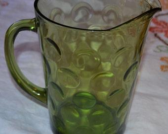 Vintage 1960s Green Crystal Pitcher!